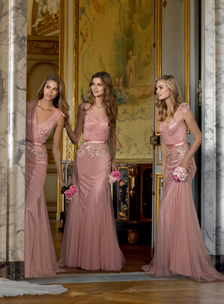 2016 Gold Lace Liques Pink Chiffon Long Bridesmaid Dresses Vintage Prom Gowns Wedding Party Dress Vestido De Festa In From