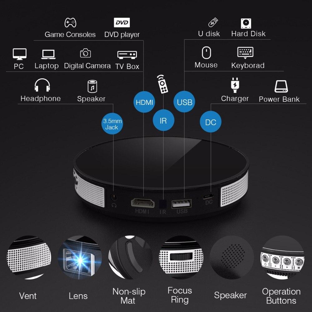 Exquizon UFO R6 DLP projector HD Mirror Wireless Wifi Mini LED DLP mini Projector portable with Battery HDMI USB support 1080P (1)