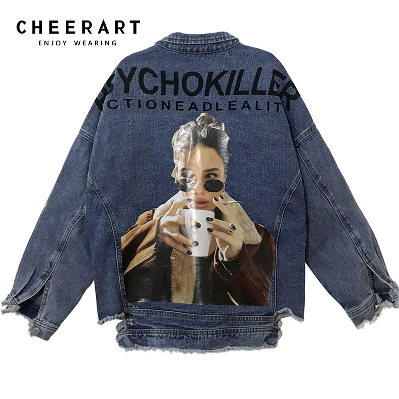 sale online free delivery strong packing US $37.62 40% OFF|Cheerart Hip Hop Streetwear Oversized Denim Jacket Women  Loose Ripped Jean Jacket And Coats Printed Distressed Denim Jacket-in Basic  ...