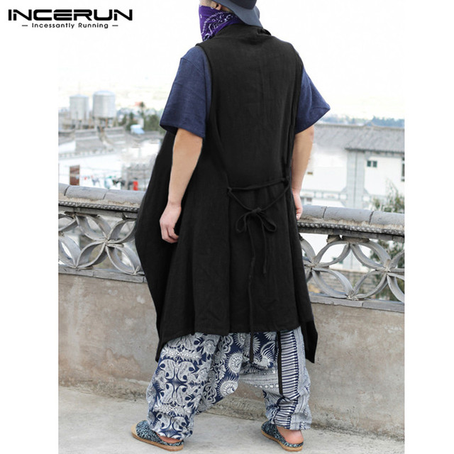 INCERUN 2018 Chinese Style Men Vest Stylish Sleeveless Cotton Thin Long Cloak Casual Hip-hop Jacket Coat Cardigan Chalecos S-3XL