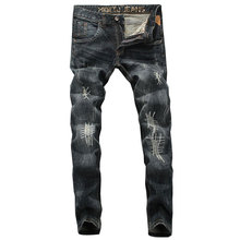 2019 Fashion Men Jeans High Quality Slim Fit Ripped Jeans For Men Patchwork Pants Italian Style Brand Biker Jeans,Men New Pants все цены