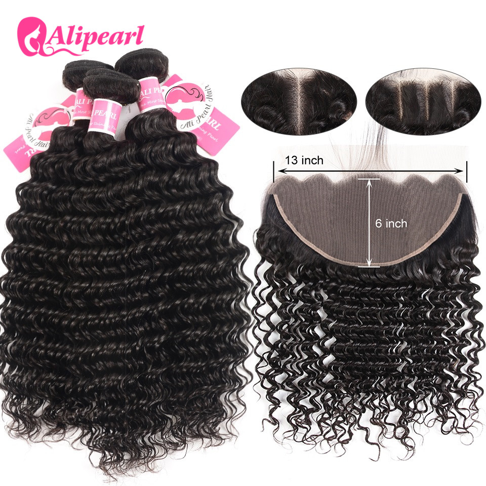 Ali Pearl Hair 13x6 Lace Frontal Closure With Bundles Brazilian Deep Wave 3 Bundles With Frontal Closure Free/Middle/Three Remy