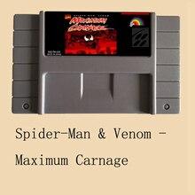 Spiderman Venom Maximum Carnage USA Version 16 bit Big Gray Game Card