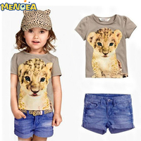 In The Summer Of 2014 The New Girl Suit Short Sleeved Shirt Tiger Jeans Girls Summer
