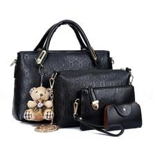 Famous Brand Women Bag 2016 Fashion Women Messenger Bags Handbags Leather Female Bag 4 piece Set AW342
