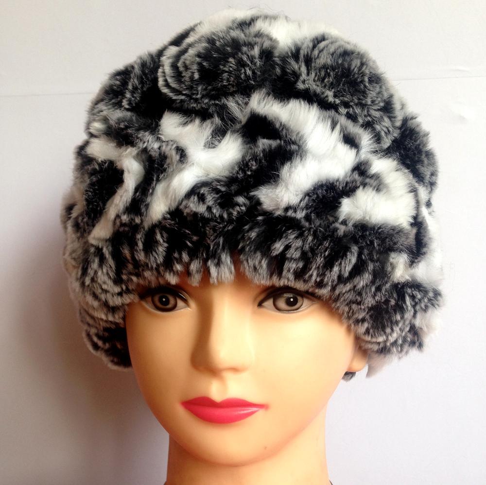 2017 Genuine Rex Fur Pom poms Snow Cap Winter Hats for Girls Skull Cap Real Fur Knitting Rabbit Skullies Beanies Women Hats stylish american flag scrawl pattern voile scarf for women