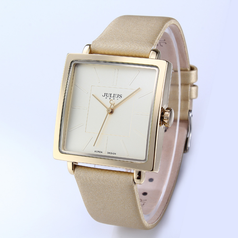 2016 JULIUS Brand Quartz Watches Women Clock Gold Square Leather Bracelet Casual Fashion Watch Ladies reloj mujer montre femme mance fashion luxury high quality montre femme ladies a bracelet watch metal strap casual watches reloj mujer women clock