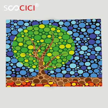 Custom Soft Fleece Throw Blanket Trippy Nature Standing Alone Tree Foliage Featured with Little Circle Forms Modern Artwork