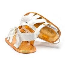 Девочка летняя обувь, цветок сандалии белого цвета, золото нескользящей подошвой