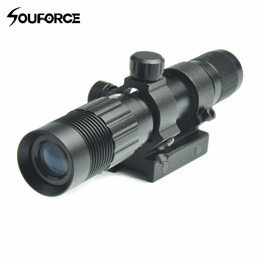 Réglable Vert Visée Laser et lampe de Poche Désignateur/Illuminateur/lampe de Poche Fit pour 20mm Rail Mount Chasse