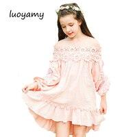 2017 Autumn Girls Linen Lace Dress Kids Asymmetry School Wear Clothes Children Strapless Flower Party Wedding