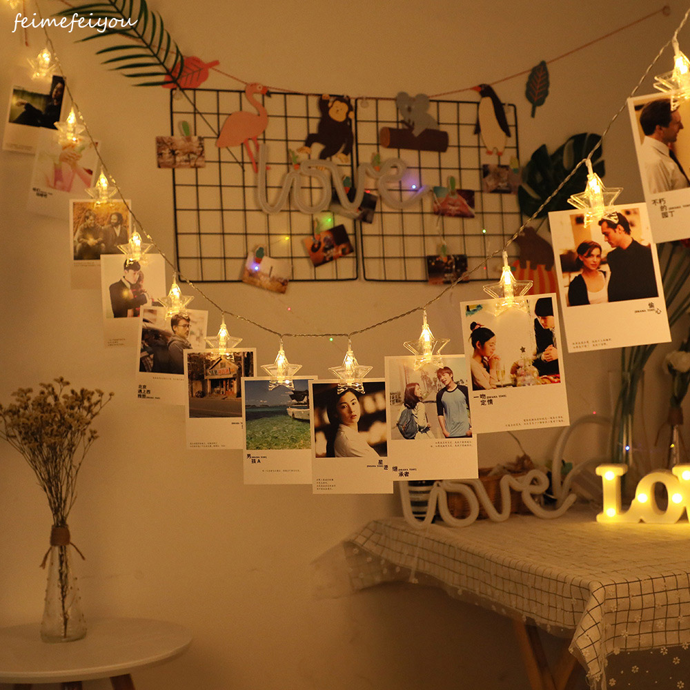 40 LED Photo Clip Holder String Lights Battery Powered Christmas New Year Party Wedding Home Decoration Fairy Lights in LED String from Lights Lighting