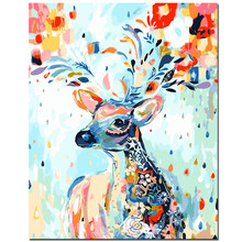 WEEN DIY Painting By Number kit,Rainbow deer, by numbers,Home Decor Oil Picture Canvas,Acrylic Paint 40x50cm