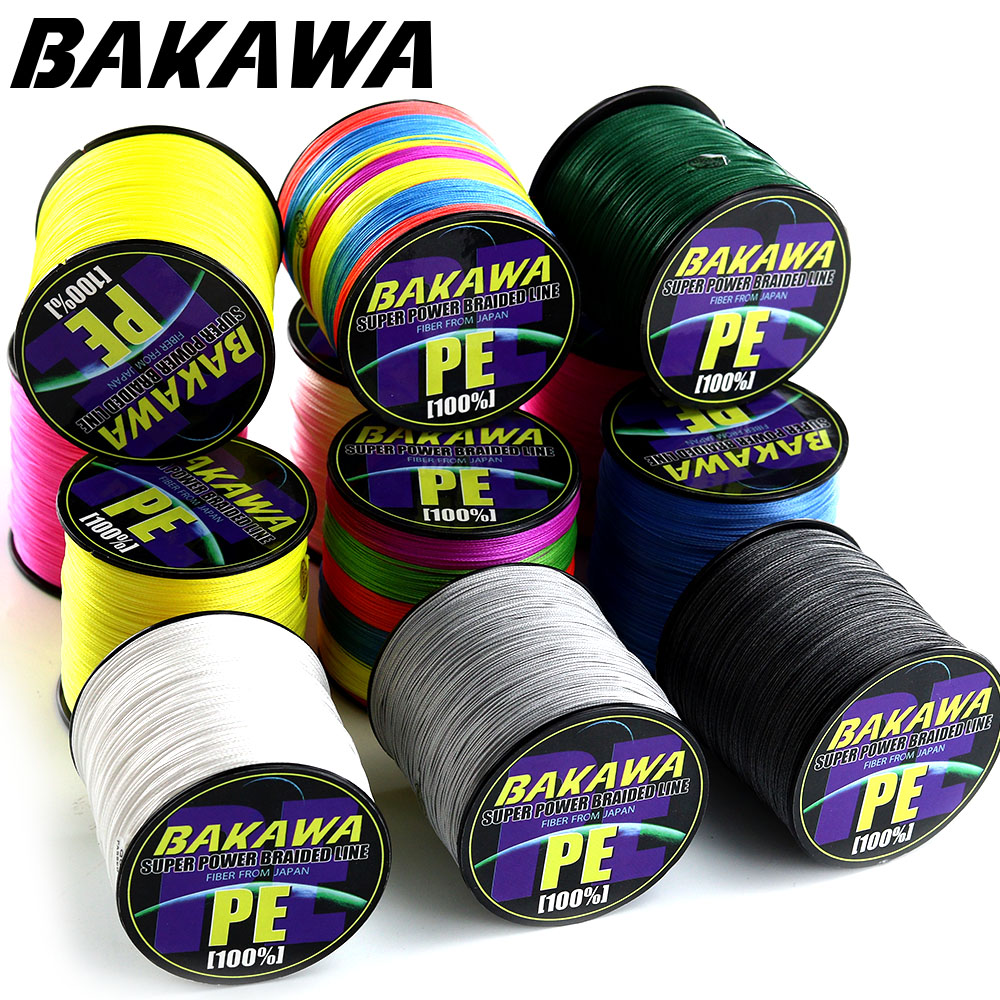 BAKAWA Fishing Line 8 Strands PE Braided 500 300 Meters Multifilament Fishing Line Rope peche carpe Wire 20 30 40 50 60 80 100lb