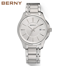 Berny New Stainless Steel Top Brand  Mens Watch Unique Design Quartz Classical Bussiness Watches 2754M