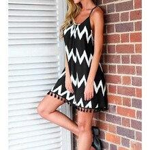 2019 Women Summer Sexy Wave Pattern Tassel Strap Dress Sleeveless Holiday Black and White