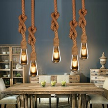 E27 Vintage Hemp Rope Pendant Lamp for Restaurant Coffee Bar Loft Creative Personality Industrial AC90-260V vintage creative pendant lamp hemp rope iron lampshade shop coffee house pendant lights bar e27 110 240v free shipping