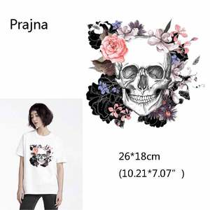 Gothic Punk Rock Skull Rose Skeleton Patch For Man Heat Transfers For Clothes Thrasher. Thermal Heat Transfers For T Shirt D(China)