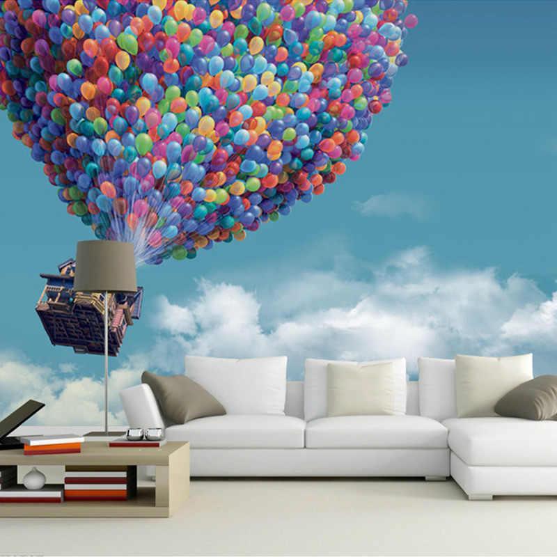 Ozel Boyut Mavi Gokyuzu Beyaz Bulutlar Ucan Balon Fotograf Duvar