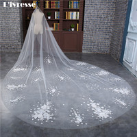New Elegant Wedding Veils Luxury Cathedral Wedding Accessories Appliques Edge Flower With Crystal Voile Mariage Ivoire