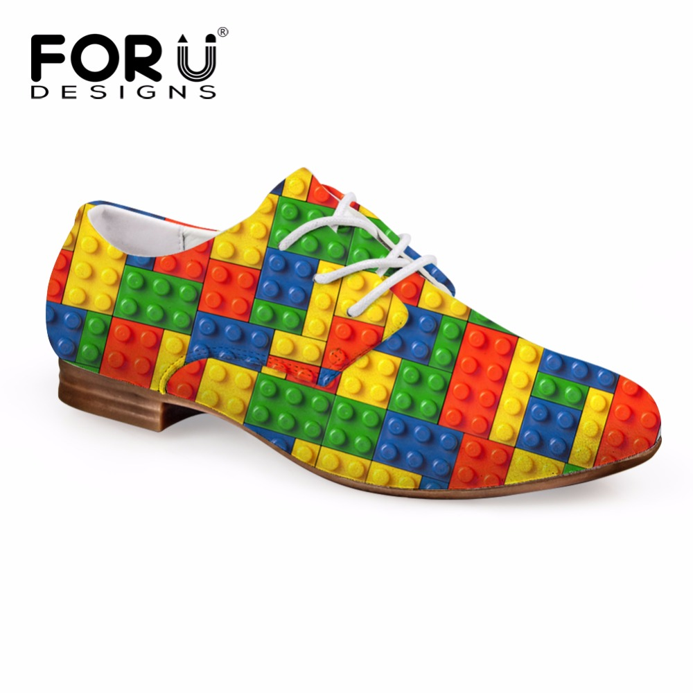 FORUDESIGNS Fashion Women's Oxfords Shoes 3D Tetris Printed Casual Oxfords Shoes For Woman Lacing Leather Shoes Student Female
