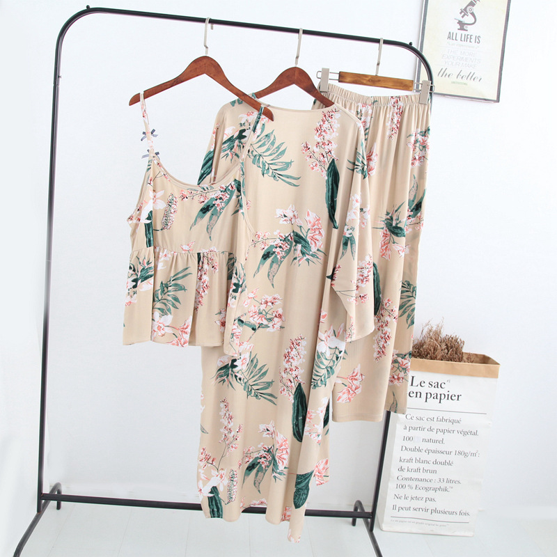 2019 Summer New Three Pieces Women Robe Bathrobe Set Robe+Camisole+Pants Loose Home Leisure Wear Female Soft Home Suit