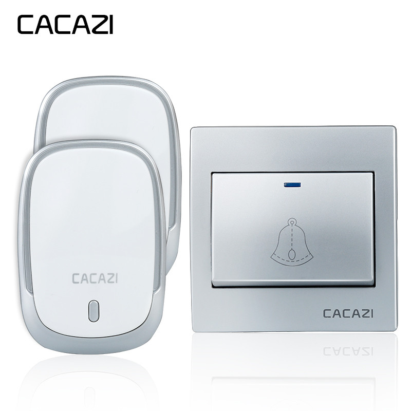 CACAZI Wireless Doorbell Waterproof 1 Battery Button+2 Receivers 300M Remote LED Light Home Cordless Bell 36 Chimes 4 VolumeCACAZI Wireless Doorbell Waterproof 1 Battery Button+2 Receivers 300M Remote LED Light Home Cordless Bell 36 Chimes 4 Volume