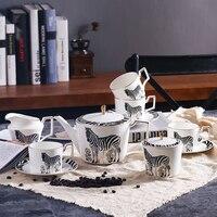 11 Pcs Luxury Zebra Style Ceramic Coffee Tea Sets 1 Teapot 4 Cups 4 Saucers 1