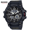 Read hombres deportes relojes moda casual doble pantalla al aire libre a prueba de agua relojes de pulsera militar de gran tamaño hombre reloj de cuarzo 90001