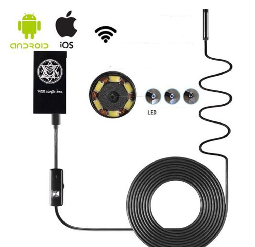 2MP 8mm 1280X720 WIFI Endoscope Camera 1M/2M/3.5M/5M Optional 7mm 1 3mp water proof wifi endoscope camera 1m 2m 3 5m 5m optional