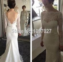 Sexy Low Back Lace Off Shoulder Wedding Dress Sweep Train Long Sleeves Bridal Gown Vestido De