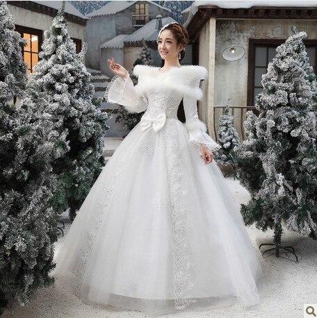 2013 inverno abito da sposa inverno vestito convenzionale abito da sposa  inverno collo di pelliccia maniche lunghe in cotone ispessimento inverno  abito da ... 502b364a308