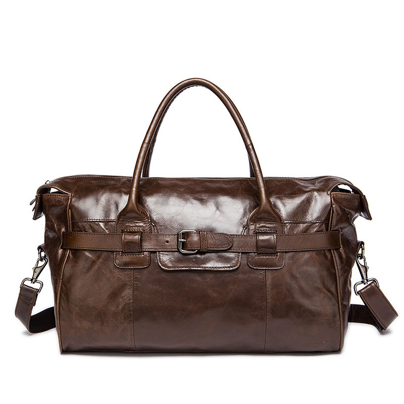 Luxurious Brand Soft Genuine Leather travel bags large capacity neutral unisex short-distance wearable coffee Travel Duffle