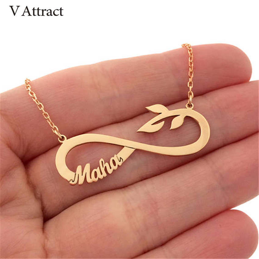 V Attract Personalized Name Necklace Stianless Steel BFF Colar infinity Leaf Fascinating Pendant Choker Femme Custom Accessories oem stianless uab