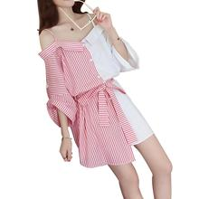 2019 New Yfashion Women Fashion Off-shoulder Bowknot Stripe Pattern Color Matching Sling Dress pink stripe pattern one shoulder self tie dress