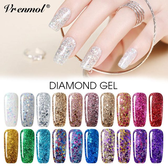 Vrenmol Glitter Diamond Nail Gel polish Nail Art Hybrid Vernis Long ...