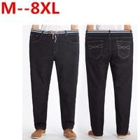 Plus Size 10XL 8XL 6XL 5XL 4XL Men S Jeans Black High Stretch Denim Brand Men