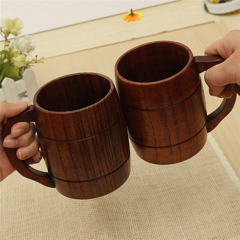 Grande Promotion! écologique 400 ml Classique En Bois Bière Thé Café Tasse Tasse Bouteille D'eau Résistant À La Chaleur Home Office Partie Verres
