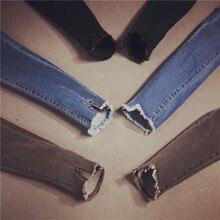 new fashion women spring autumn Tight elastic high waist pencil trousers black blue skinny jeans female Sanding long pants