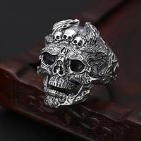 100% 925 Silver Skull 925 Sterling Silver Skeleton Ring Hyperbole Hiphop Jewelry Man Ring Skull