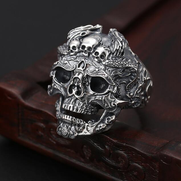 100% 925 Silver Skull 925 Sterling Silver Skeleton Ring Hyperbole Hiphop Jewelry Man Ring Skull