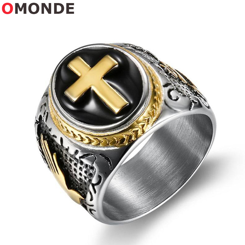 New Arrival Jesus Cross Ring Men Rose Gold Color Stainless Steel Hand of God Pattern Black Vintage Male Prayer Finger Jewelry
