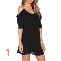 J47528 Summer Korean Style OL Fashion V Neck Slim Fit Mid Long Dressess