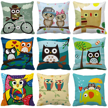 Cartoon Owl Cushion Cover Nordic Simple Geometric Decorative Throw Pillows Cushion Covers for Sofa Polyester Cotton цены