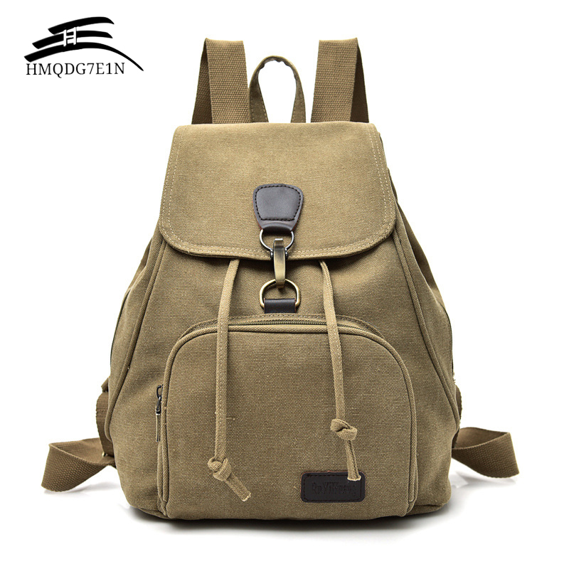 High Quality Vintage Women Canvas Backpack Lock And String Backpacks For Teenagers Backpack All-match Travel Daypack Mochila