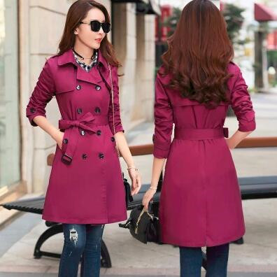 Trench   Coat for Women 2018 Casual Turn-down Collar Slim Fit Double Breasted Autumn Ladies Long Coat Plus Size 3XL