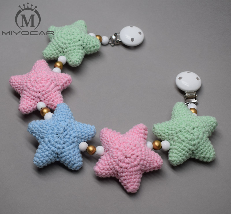 MIYOCAR handmade wood clip colorful Crochet stars stroller toy chain for pram stroller mobile rattle wooden bead crochet in Baby Rattles Mobiles from Toys Hobbies