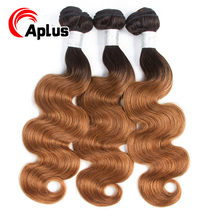 Aplus Hair Colored Peruvian Body Wave Bundles T1b/30 Ombre Blonde Hair Bundles 100% Human Hair Weaving Non Remy 10-24 inches(China)