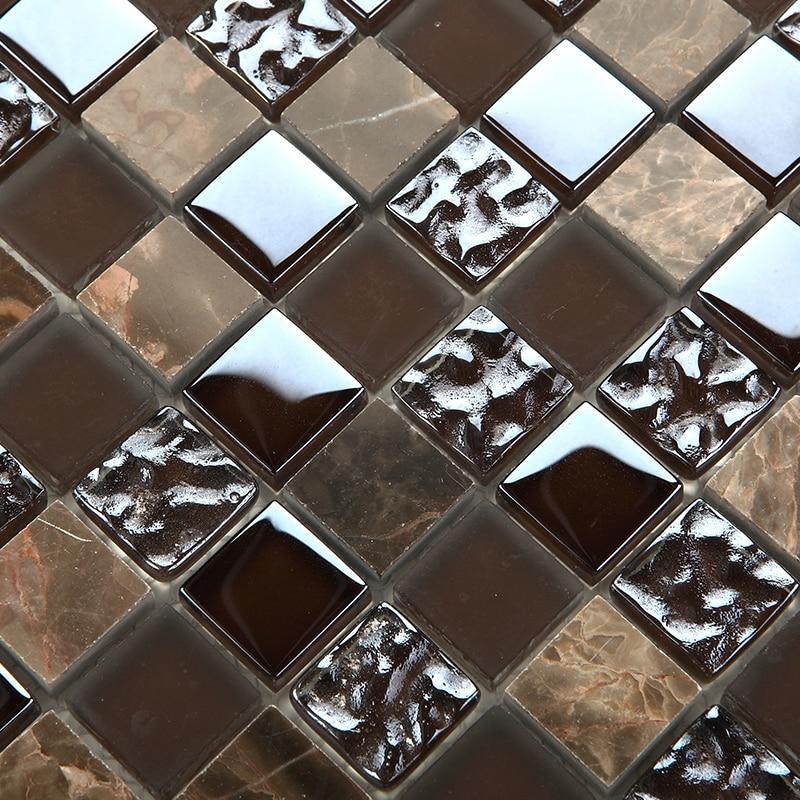 Emperador dark mosaic tiles kitchen backsplash natural ...
