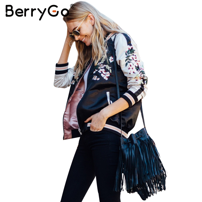 BerryGo Reversible embroidery satin   jacket   coat Autumn winter 2017 street   basic     jackets   women Casual baseball   jackets   sukajan